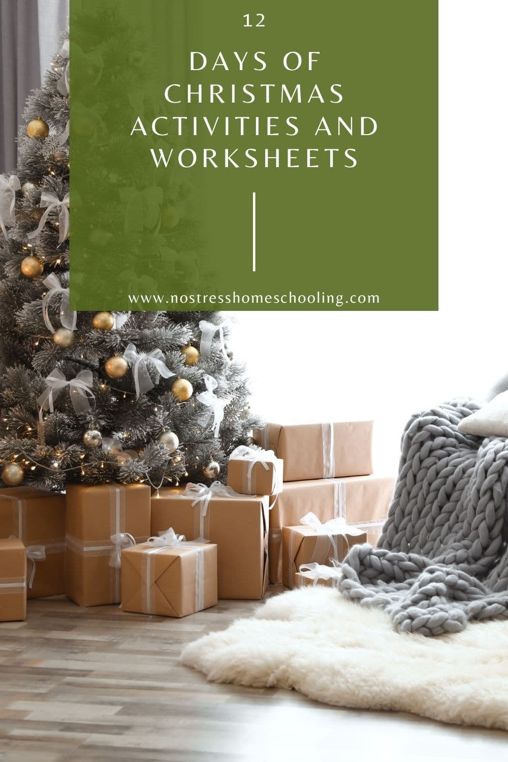 12 days of christmas activities and christmas worksheets image with green overlay