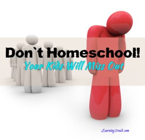 Don't Homeschool! Your Kids Will Miss Out!