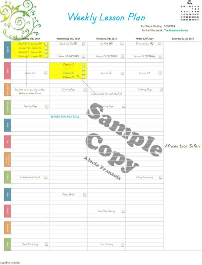editable planner