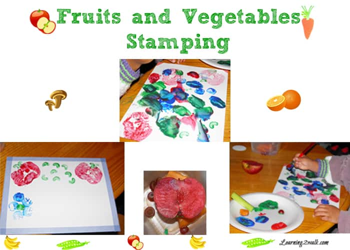 fruits and vegetables stamping for preschool art
