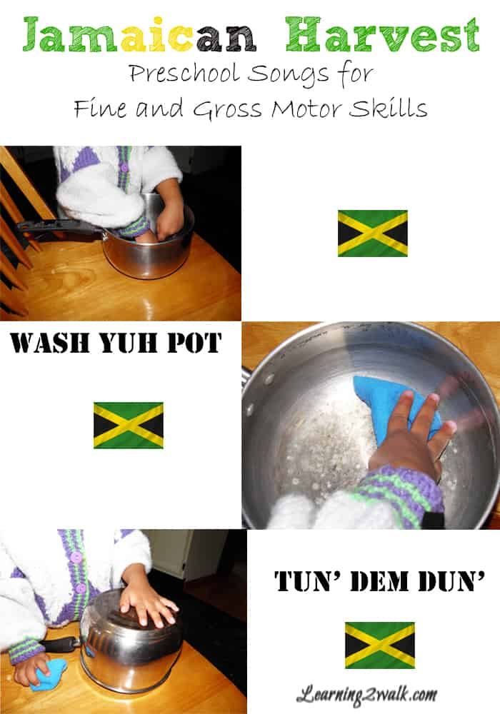 Harvest Jamaican Style songs for fine and gross motor skills