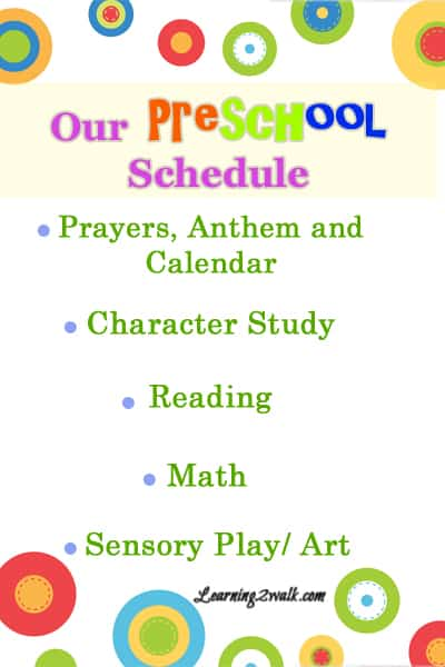 Our Preschool Schedule