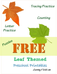 Leaf Themed Preschool Printable Kit