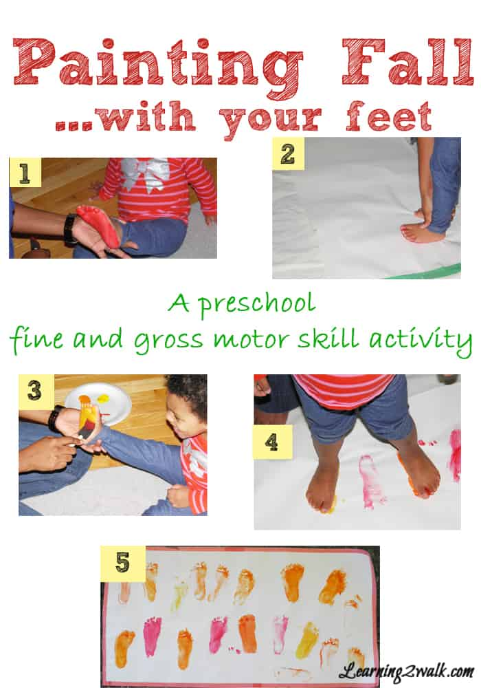 Painting Fall with your feet- fall activities for preschoolers