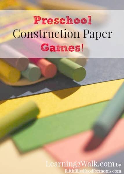 Preschool Construction Paper Games