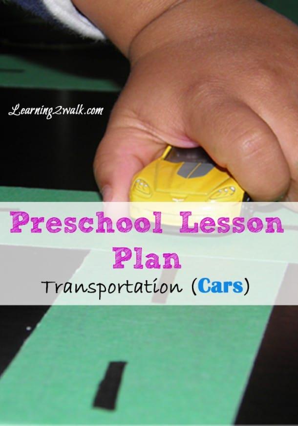 Preschool Lesson Plan Transportation- Cars