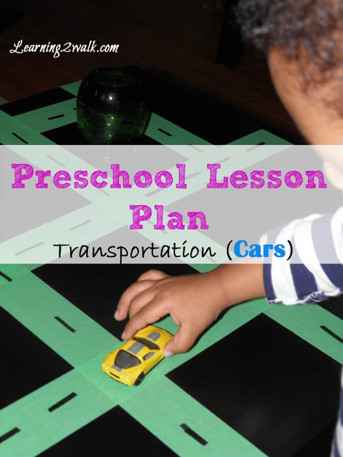 Preschool Lesson Plan Transportation- Cars Sensory