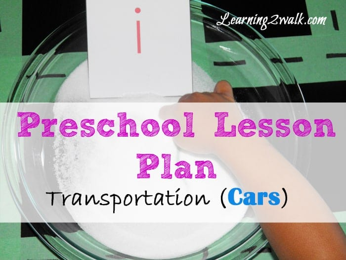 preschool lesson plan transportation (cars) writing