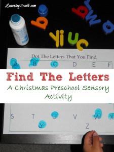 preschool sensory activities- find the letter