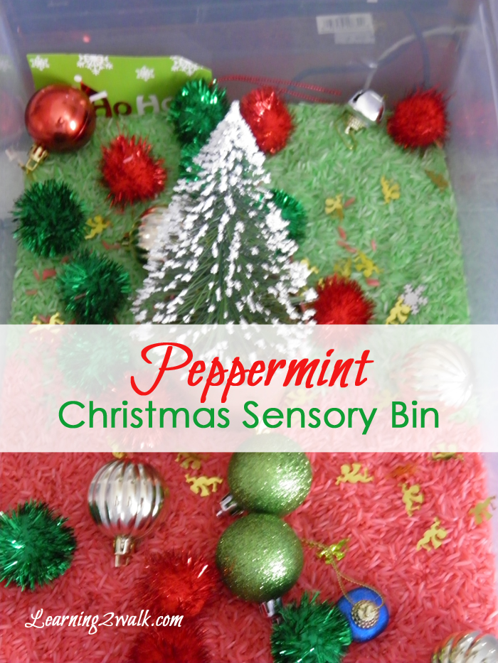 preschool sensory activities; peppermint christmas sensory bin