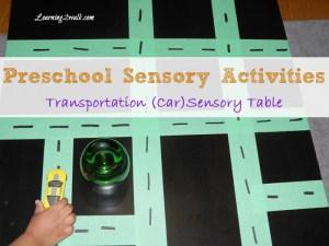 preschool sensory activities: transportation