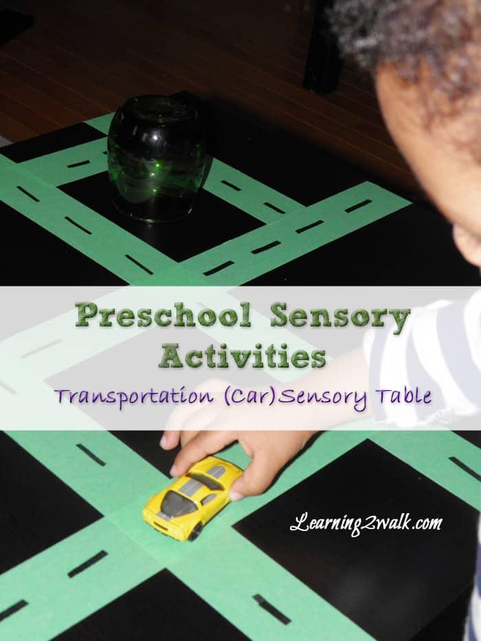 preschool sensory activities: transportation sensory table