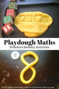 Math preschool sensory activities with playdough mats