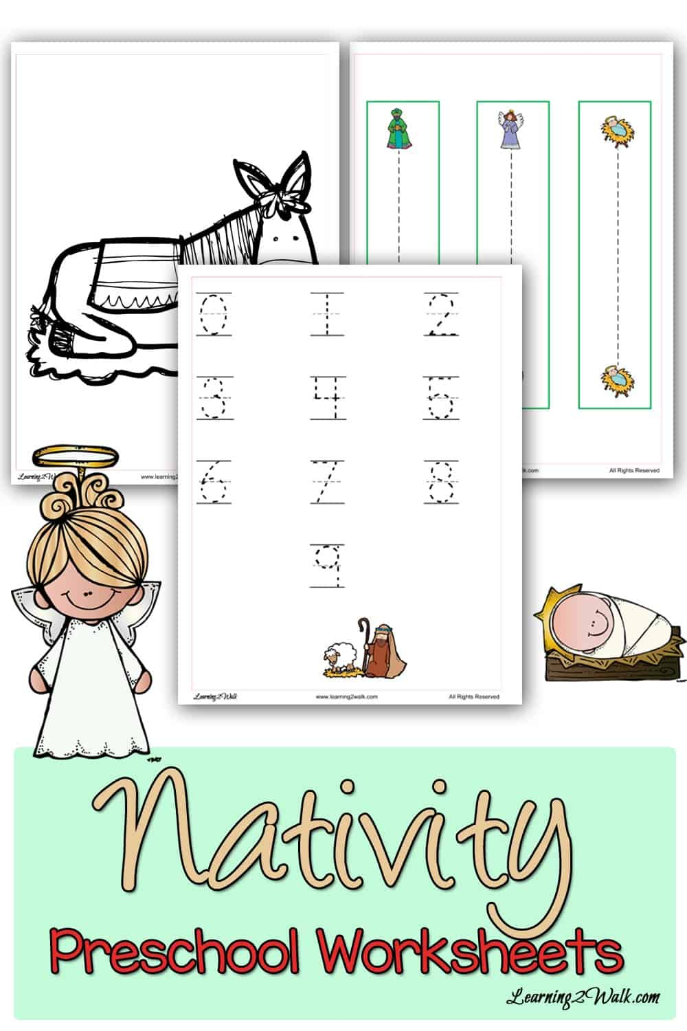 These christmas nativity preschool worksheets will ensure that your kids work on tracing as well as writing their preschool letters and even color