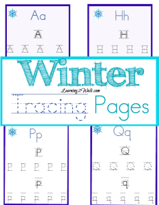 Winter Tracing Pages for preschoolers