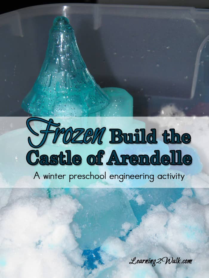 This Frozen themed STEM activity for kids is so fun. Forget about legos- build the frozen castle of Arendelle