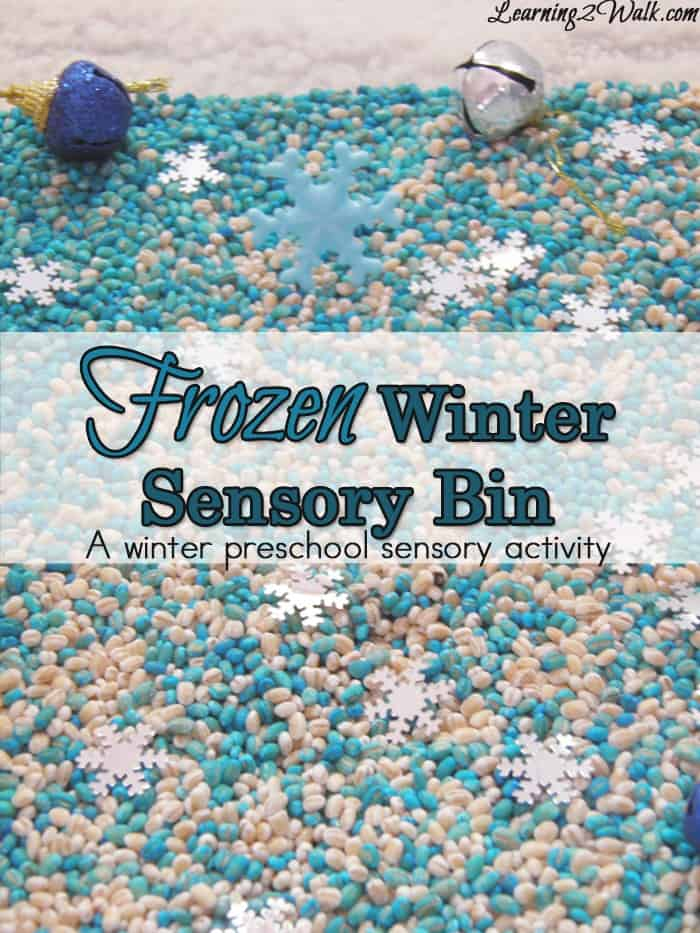 Sensory play is huge in our house. Here is a Frozen themed sensory bin which was just one of our frozen preschool sensory activities for this week.