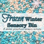 Sensory play is huge in our house. Here is a Frozen theme sensory bin which was just one of our preschool sensory activities for this week.