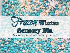 frozen themed winter sensory bin preschool sensory activities