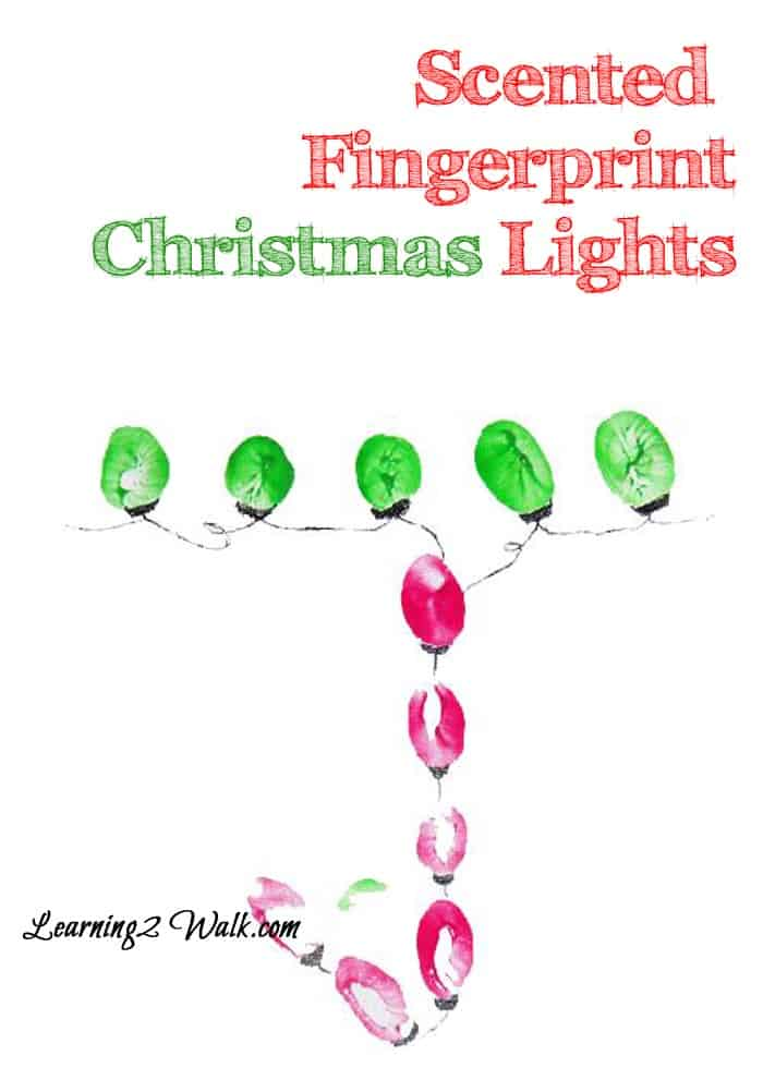 Looking for a few fun preschool sensory activities? Try this scented fingerprint Christmas lights craft
