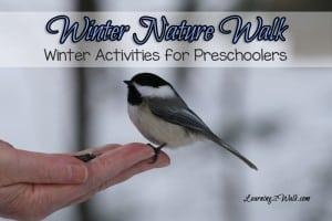 winter activities for preschoolers- winter nature walk chickadee