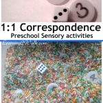 preschool sensory activities that help with 1:1 Correspondence which helps with playing addition games as well as preschool math and kindergarten math.