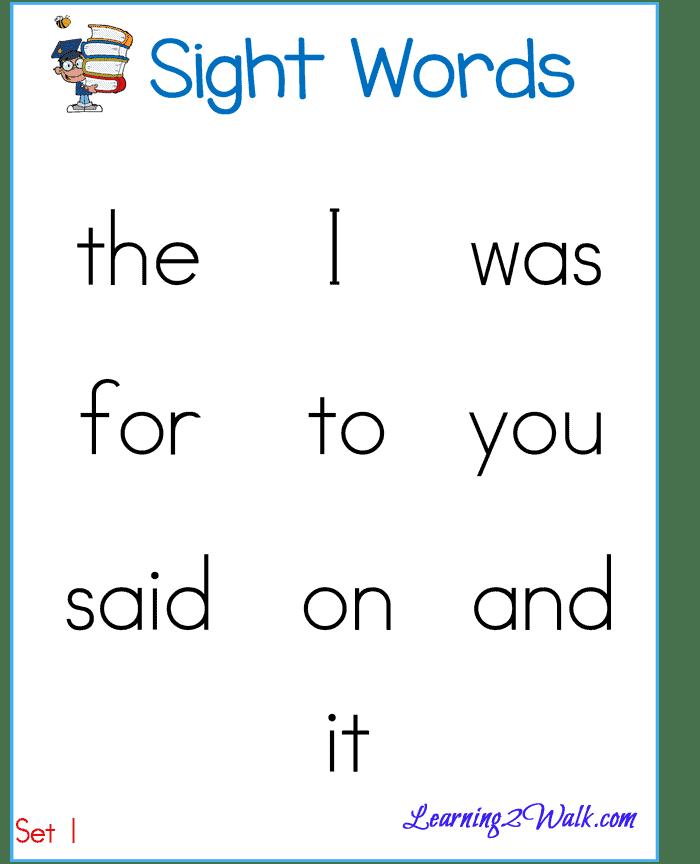 Sight Word List round 1 boy