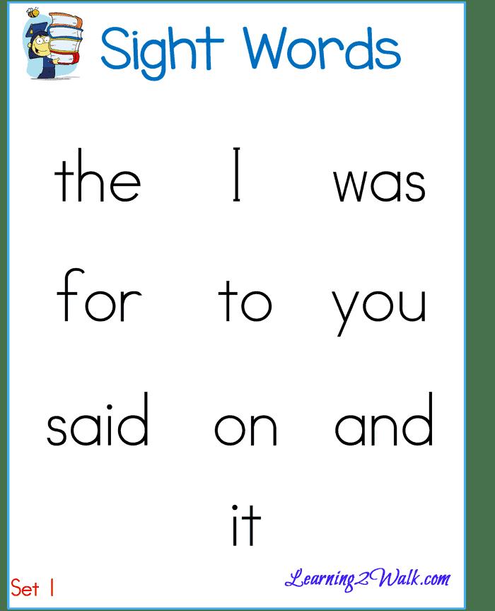 Sight Word List round 1