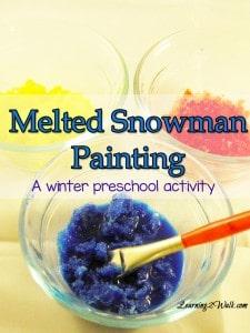melted snowman painting winter preschool activities 1