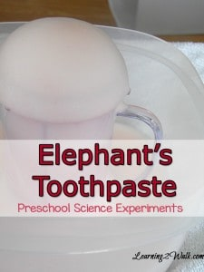 preschool science experiments- elephants toothpaste