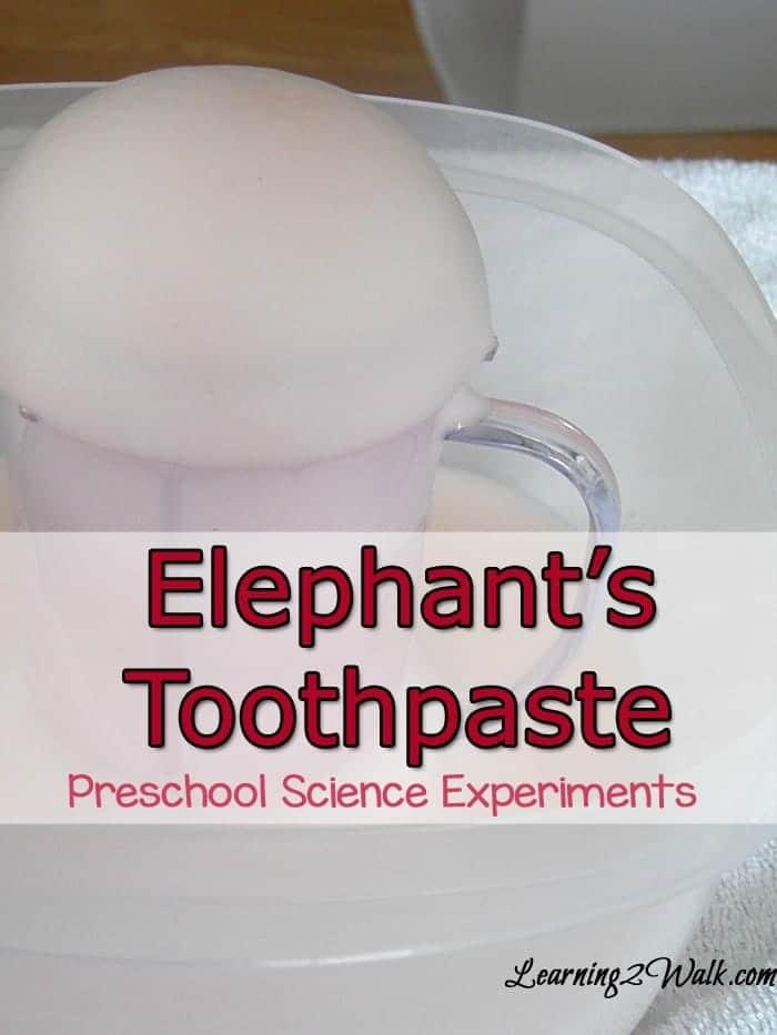 preschool science experiments- elephants toothpaste