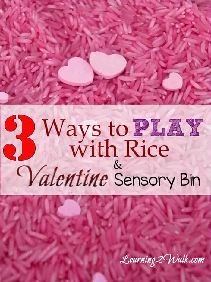 preschool sensory activities- 3 ways to play with rice and valentine sensory bin vertical