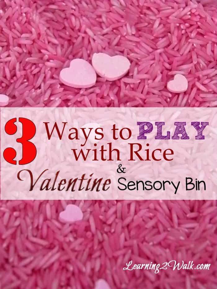 preschool sensory activities- 3 ways to play with rice and valentine sensory bin vertical