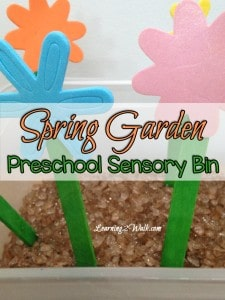 Spring is nowhere to be seen but that didn't stop us from doing a few Spring preschool activities. Today we created a Spring preschool sensory bin as one of our preschool sensory activities.
