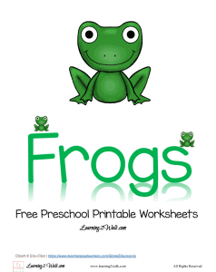 Can you hop like a frog? Here is a free preschool printable worksheets that is all about frogs.