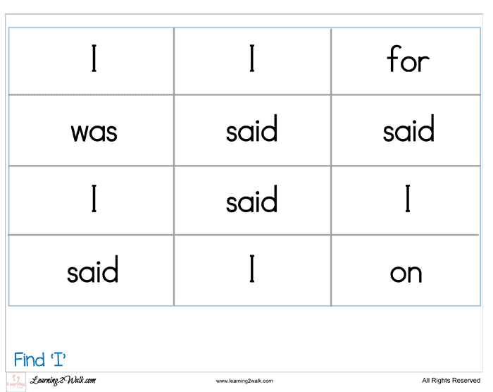 Sight Word Worksheets I – Sight Word Worksheets