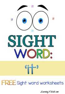 Working on sight words for preschool? Try these free sight word worksheets for 'it'
