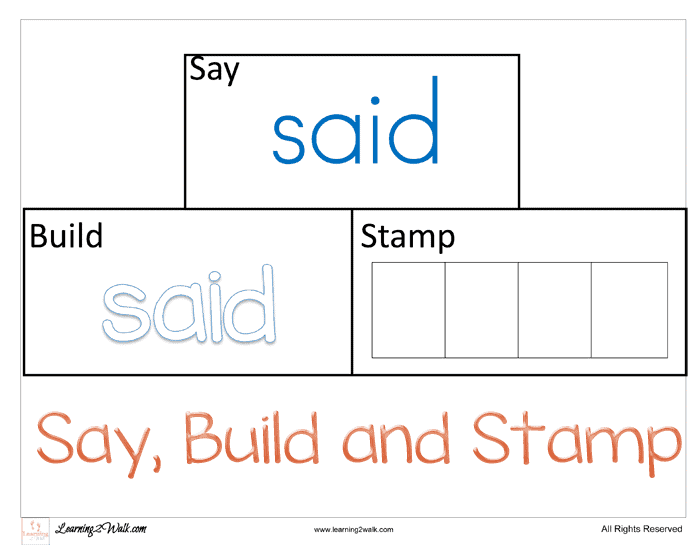 Sight Word Worksheets Said. My Daughter Is Now Working On Her Sight Words To Help I Created. Printable. Printable Sight Word Activities At Clickcart.co