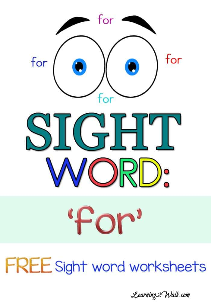 My daughter is now working on her sight words. To help her, I created some free preschool sight word worksheets for the word 'for''