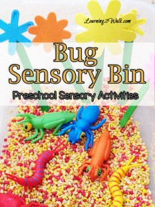 We are slowly welcoming the bugs that return with spring. Here is one of our preschool sensory activities, a bug sensory bin, that you can easily recreate with your preschooler.