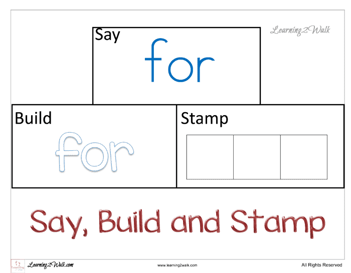 Sight Word Worksheets for