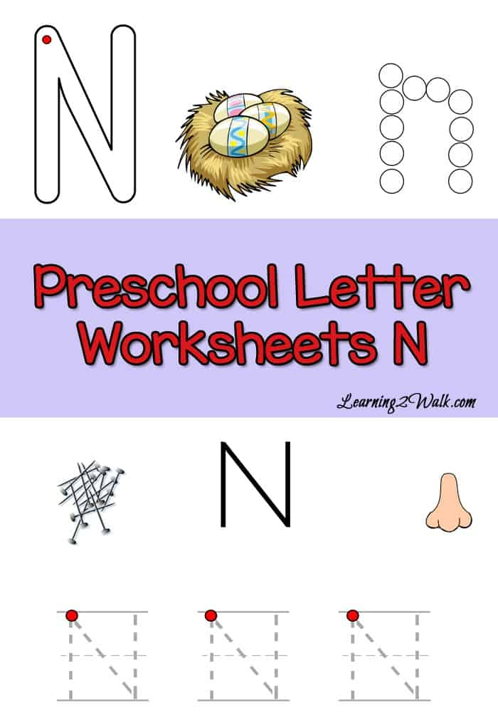 Enjoy these free preschool letter n worksheets to help your child with their alphabet recognition.
