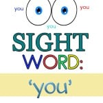Here are some free sight word 'you' worksheets to help teach sight words or simply help your kids reinforce their sight words.