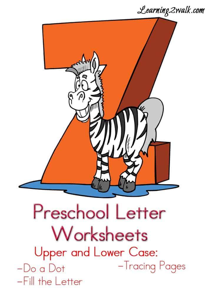 Preschool Letter Worksheets Z