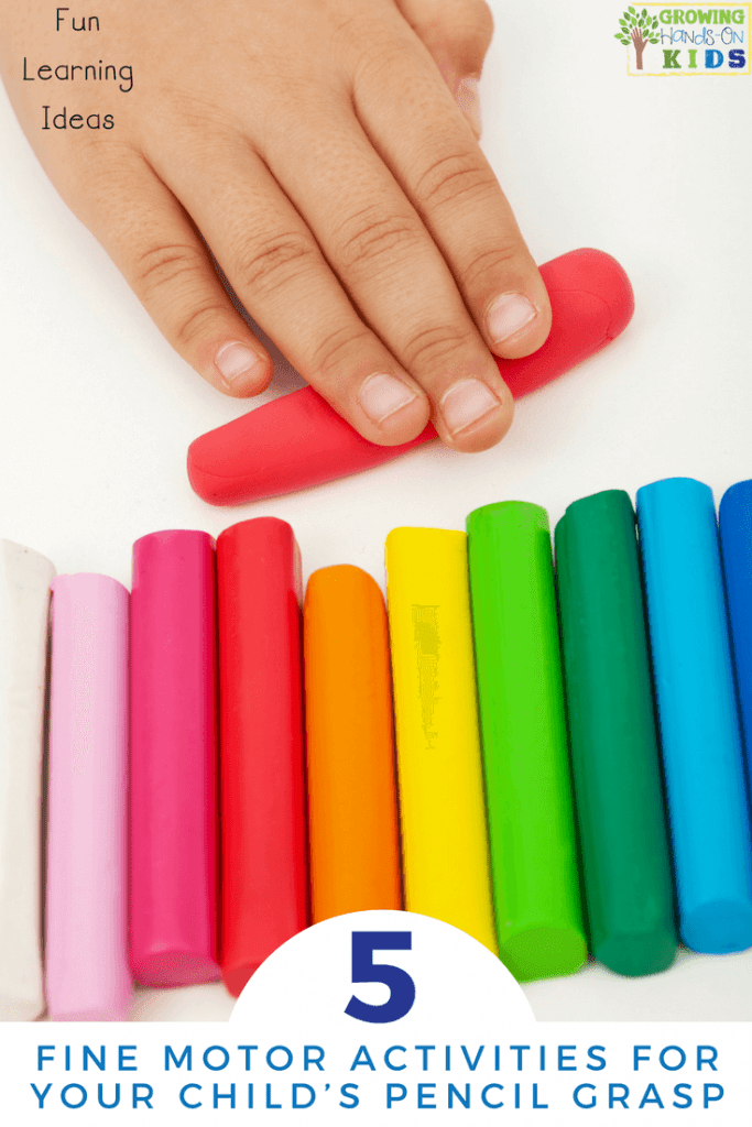 Looking for a few pencil grasp writing activities for your kids? These 5 fine motor activities are sure to help them develop proper pencil grasp. #pencilgraspwritingactivities #finemotoractivities #pencilgrasp