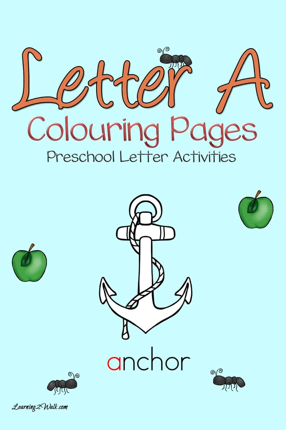 Working on preschool letters? Here is a set of free preschool letter a coloring pages to help with alphabet recognition.