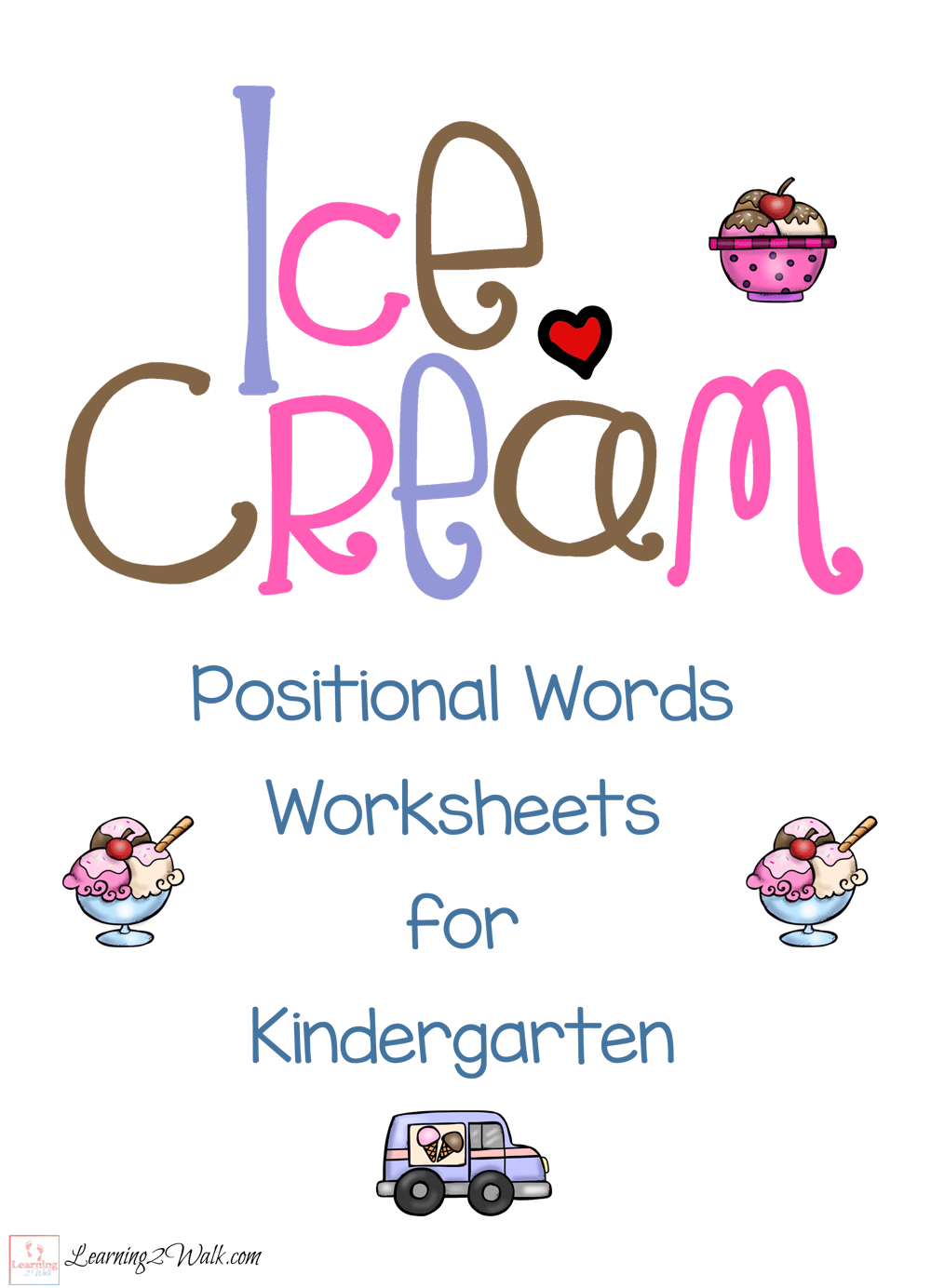 Ice Cream Positional Words Worksheets For Kindergarten