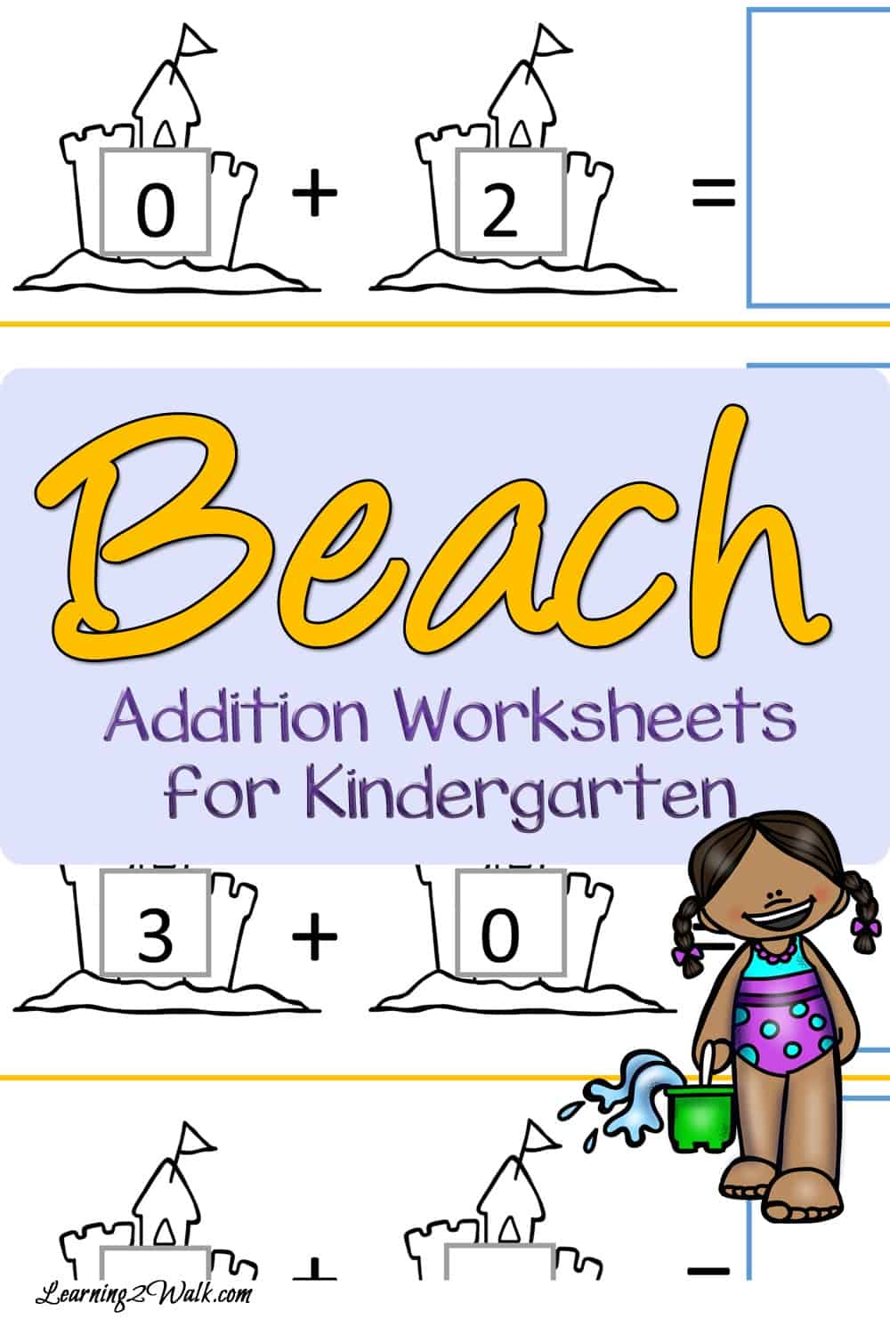Cut and Paste Beach Addition Worksheets for Kindergarten