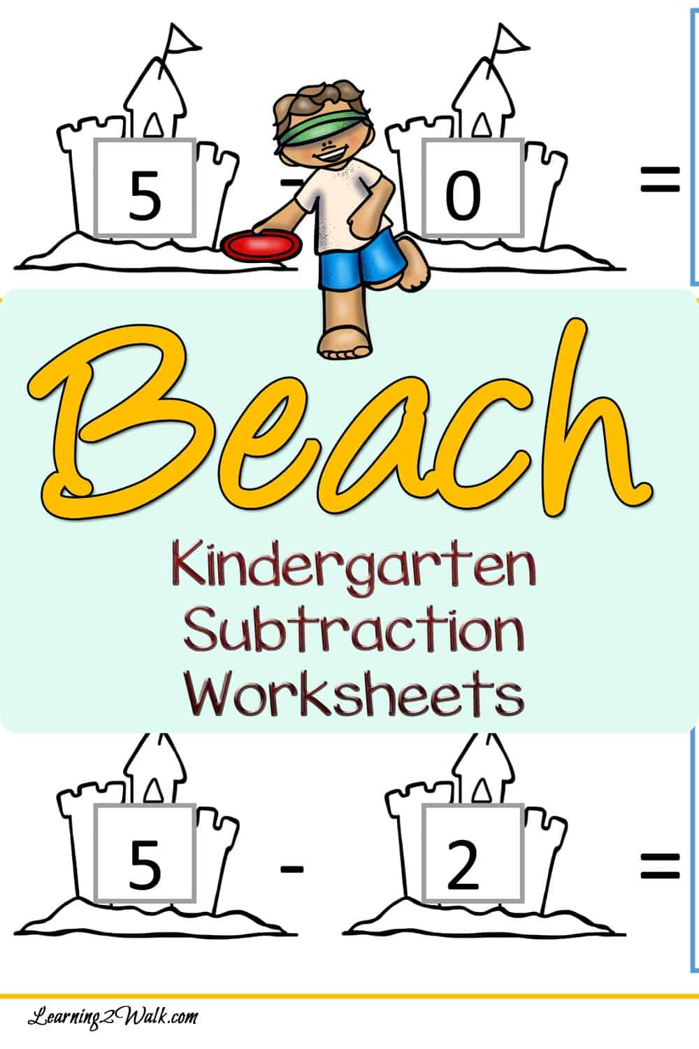 Sandcastles, umbrellas and the sun- don't you just love the beach? Here are a few beach kindergarten subtraction worksheets to work on those kindergarten math skills.