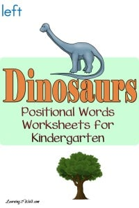 Who doesn't love dinosaurs? Enjoy these dinosaurs positional words worksheets for kindergarten